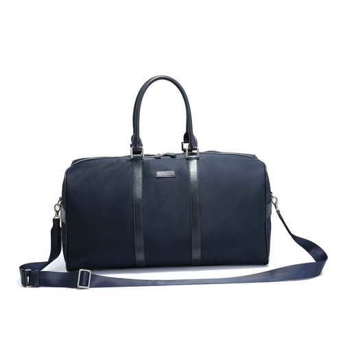 Men's travelling bags with leather trims