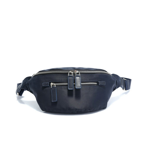 Men's nylon waistbag with leather trims